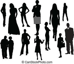 mulheres homens, silhouettes., vetorial, ilustração