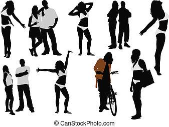 mulheres homens, silhouettes., vetorial