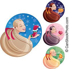 mulheres, imagens, simbolize, jogo, cabelo longo, feriados