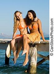 mulheres, jovem, férias