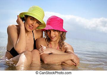 mulheres, junto, natação