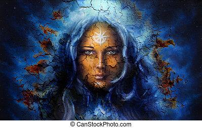 mulheres, místico, crackle, efeito, rosto, fundo, estrutura