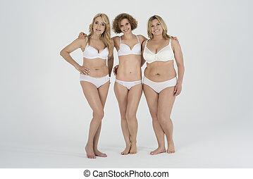 mulheres, maduras, roupa interior, grupo