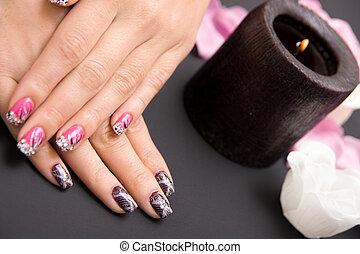 mulheres, manicure, organizado
