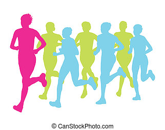 mulheres, maratona, vencedor, acabamento, vetorial, fundo, e, grupo, de, corredores, para, cartaz