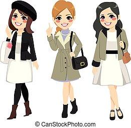 mulheres, moda, chique