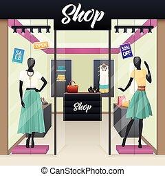 mulheres, moda, loja, venda, exposição janela
