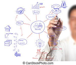 mulheres negócio, desenho, idéia, tábua, de, negócio, processo, diagrama