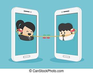 mulheres negócio, entre, via, comunicação, smartphone, homens