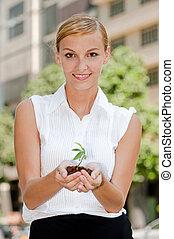 mulheres negócios, com, planta
