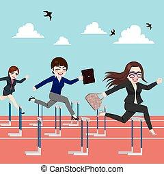mulheres negócios, competição, pular, obstáculo