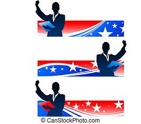 mulheres negócios, patriótico, bandeiras, executivo