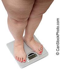 mulheres, pernas, com, excesso de peso