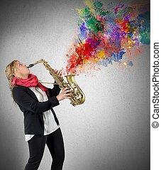 mulheres, saxophonist
