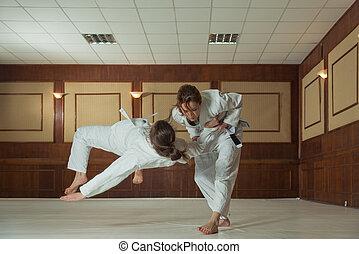 mulheres, seção, de, jiu, jitsu., meninas, resolver, a,...