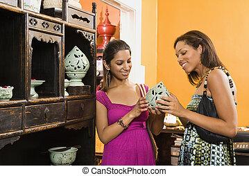 mulheres, shopping.