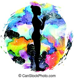 mulheres, silhouette., montanha, ioga, pose., tadasana