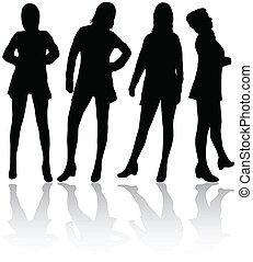mulheres, silhuetas