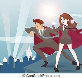 mulheres, superhero, sunlight., homem