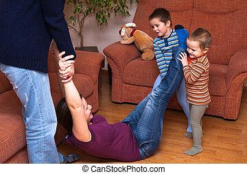 mulheres, tocando, com, crianças