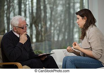 mulheres, usos, psicológico, aconselhar