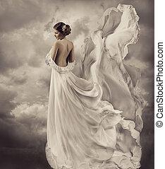 mulheres, vestido, artisticos, branca, soprando, vestido