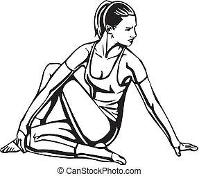 mulheres, vetorial, -, illustration., condicão física