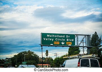 Mulholland drive exit sign in Los Angeles