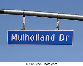 mulholland, fahren, zeichen, oben, hollywood