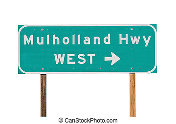 Mulholland Hwy Sign near Los Angeles