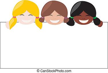 mulicultural, vettore, ragazze, aggiungere