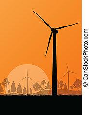 mulini vento, ecologia, natura, elettricità, illustrazione, campagna, vettore, generatori, foresta, fondo, vento, paesaggio