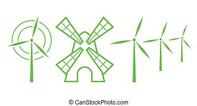 mulini vento, natura, -, icons., parte, 5, verde