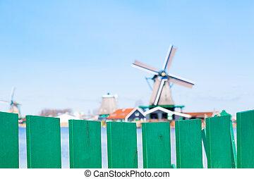 mulini vento, zaanse, olanda, schans, tradizionale, villaggio, paesi bassi, nord