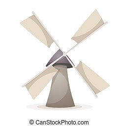 mulino, cartone animato, vento, illustration.