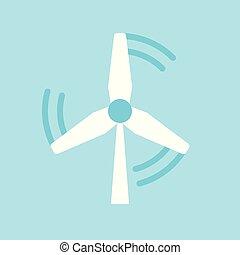 mulino vento, appartamento, concetto, energia, energia, pulito, icona