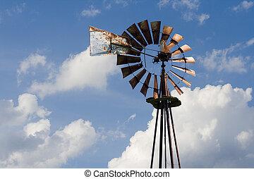 mulino vento, arrugginito, vecchio
