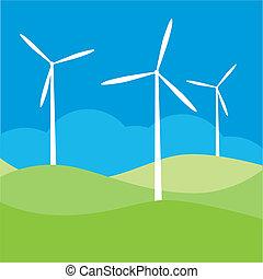 mulino vento, campo, vettore