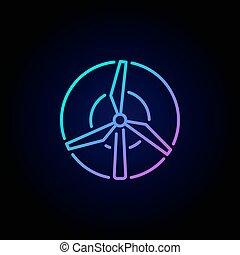 mulino vento, concetto, colorito, icona