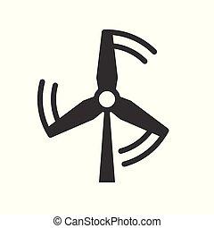 mulino vento, concetto, energia, vettore, pulito, icona