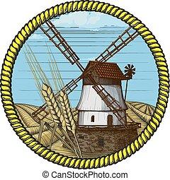 mulino vento, disegnato, woodcut, etichetta