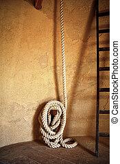 mulino vento, forte, corda, legato, a, uno, parete, italia