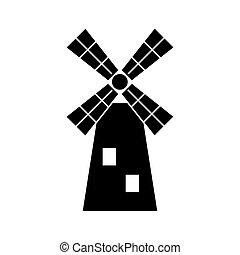 mulino vento, linea, icona