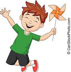 mulino vento, ragazzo, poco, carta, saltare