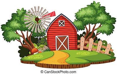 mulino vento, terreno coltivato, granaio, paesaggio, natura