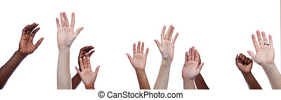Mulit-cultural hands raised upward - A group of...