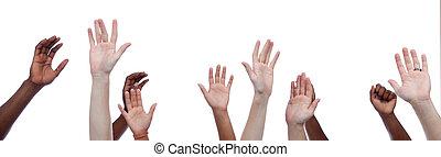 mulit-cultural, mãos levantadas, cima