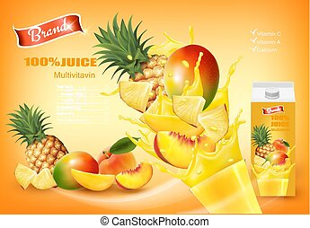 Mulitivitamin juice with fresh fruits and splashing liquid. Design template. Vector.