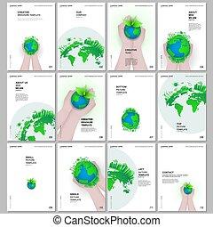 mull, design, a4, broschyr, tidskrift, mallar, design., täcka, omsorg, design, grön, överdragen, flygare, bok, värld, planet, räcker, rapport, hälsa, man., broschyr, format, klot, begrepp, layout