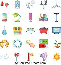 mull, energi, ikonen, sätta, tecknad film, stil